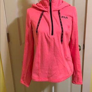 Pink Fila half-zip sweatshirt w/hood, M, like new!
